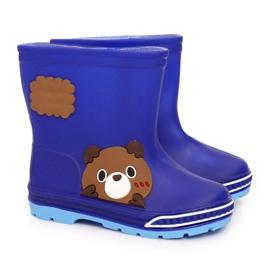 Botas de chuva infantil com ursinho de pelúcia azul marinho