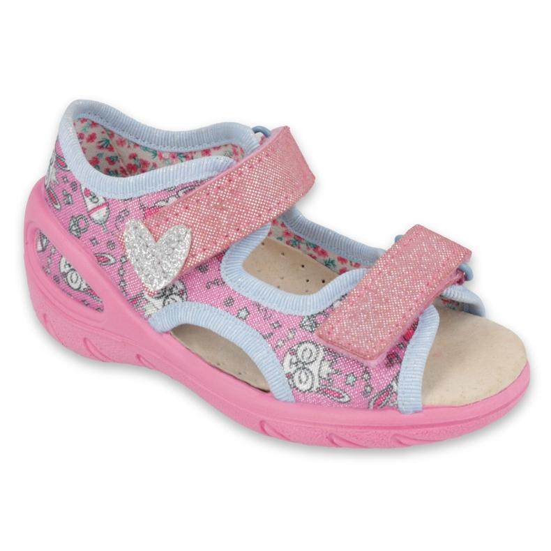Sapatos infantis Befado pu 065X147 -de-rosa prata cinza