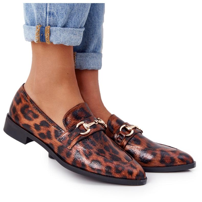 S.Barski Mocassins femininos elegantes S. Barski Leopardo marrom