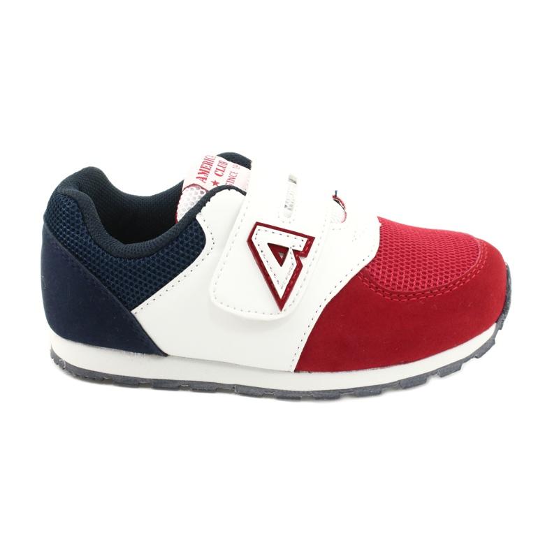 American Club Calçados esportivos com inserção de couro americano BS01 BS02 vermelho branco azul marinho
