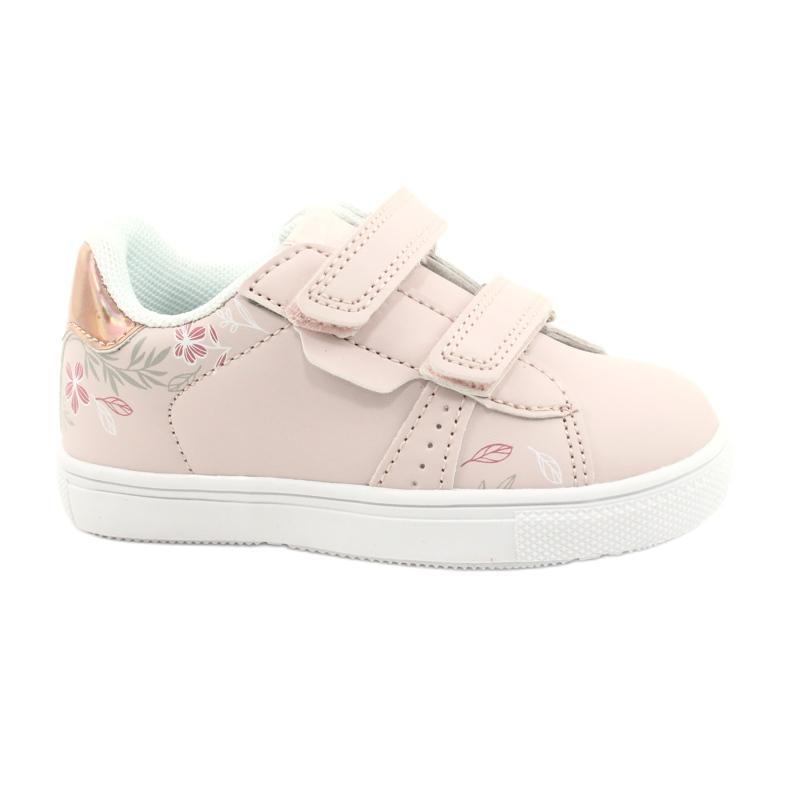 American Club Sapatos de velcro flores ES22 / 21 rosa pó dourado