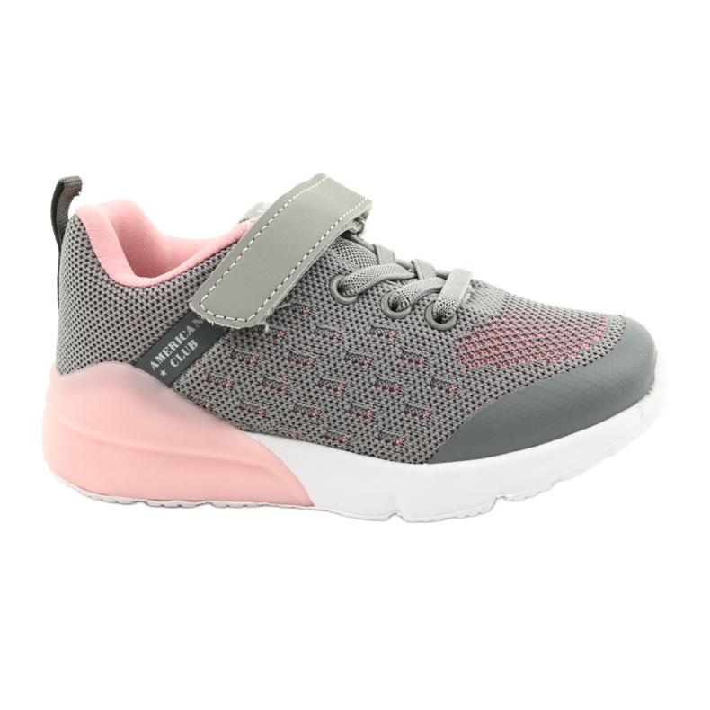 American Club Calçados femininos esportivos com velcro RL12 / 21 cinza rosa