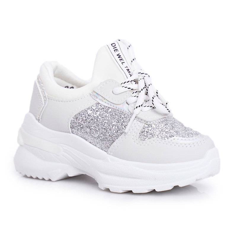 FRROCK Calçado desportivo infantil com brocado prateado Matylda branco prata cinza