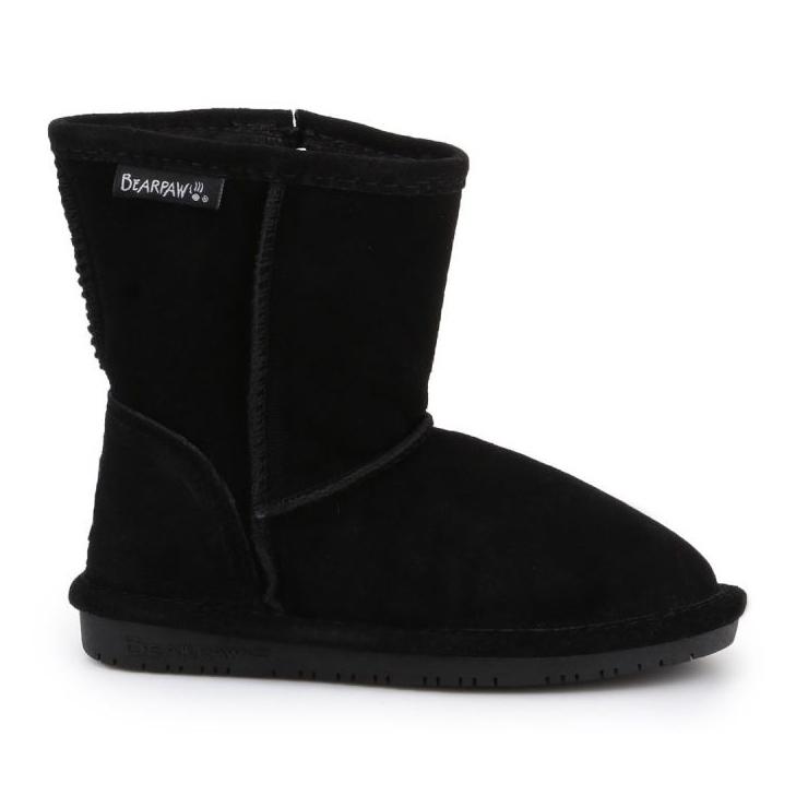 Sapatos BearPaw Emma para criança com zíper Jr 608TZ pretos nunca molhados
