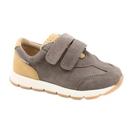Sapatos casuais masculinos de couro Mazurek 1362 Velcro castanho amarelo