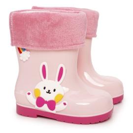 Botas de chuva para crianças com coelho rosa