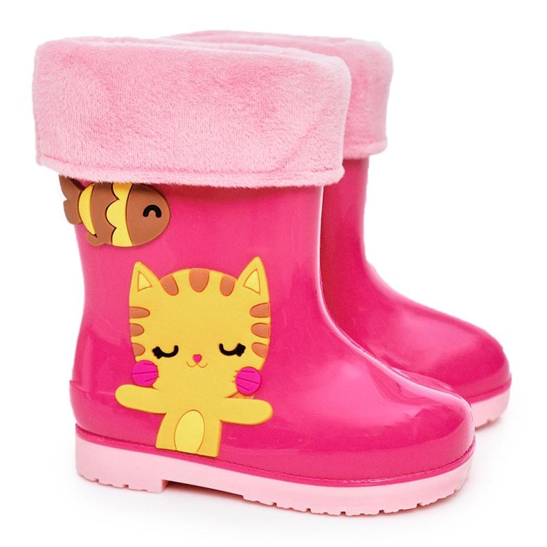 Botas de chuva infantis rosa quente com gatinho