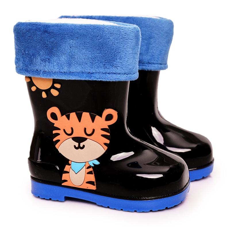 Botas de chuva pretas quentes para crianças com um tigre preto