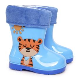 Galochas infantis com isolamento azul e um tigre