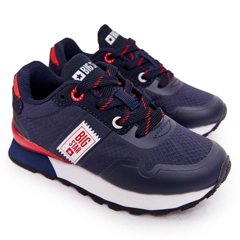 Sapatos esportivos infantis de espuma de memória Big Star HH374171 azul marinho