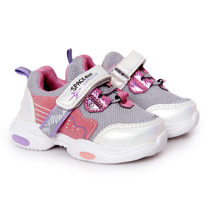 Tênis infantis esportivos branco e rosa Space Ride cinza multicolorido