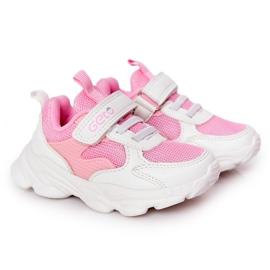 Calçados infantis esportivos tênis branco e rosa açúcar