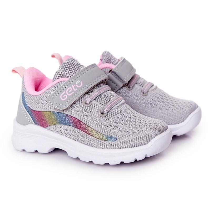 Calçados Esportivos Infantis Tênis Cinza Ready Go! rosa multicolorido