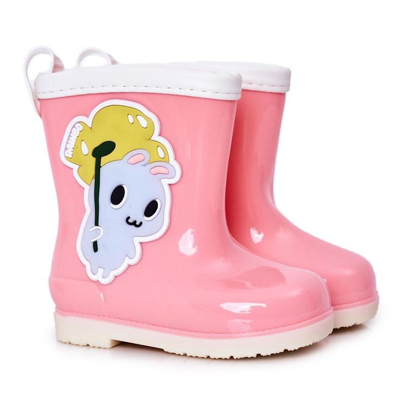 Botas de chuva infantis rosa com coelhinho