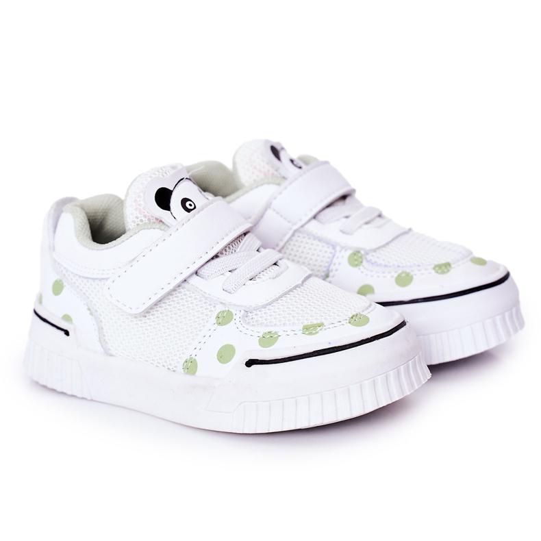 Apawwa Calçados Esportivos Infantis Com Panda Branco e Verde Chico