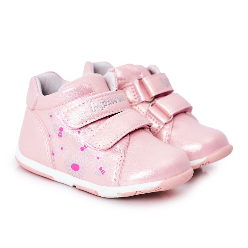 Apawwa Brogues infantis com velcro rosa milo