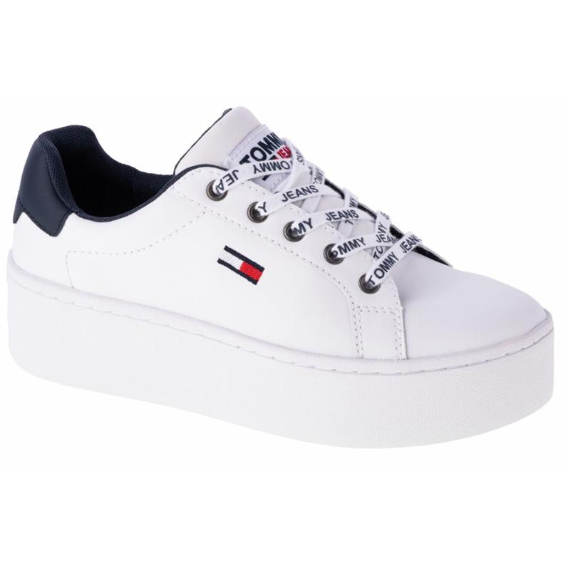 Sapatos de couro liso Tommy Hilfiger Iconic em EN0EN01113-YBR branco marinha