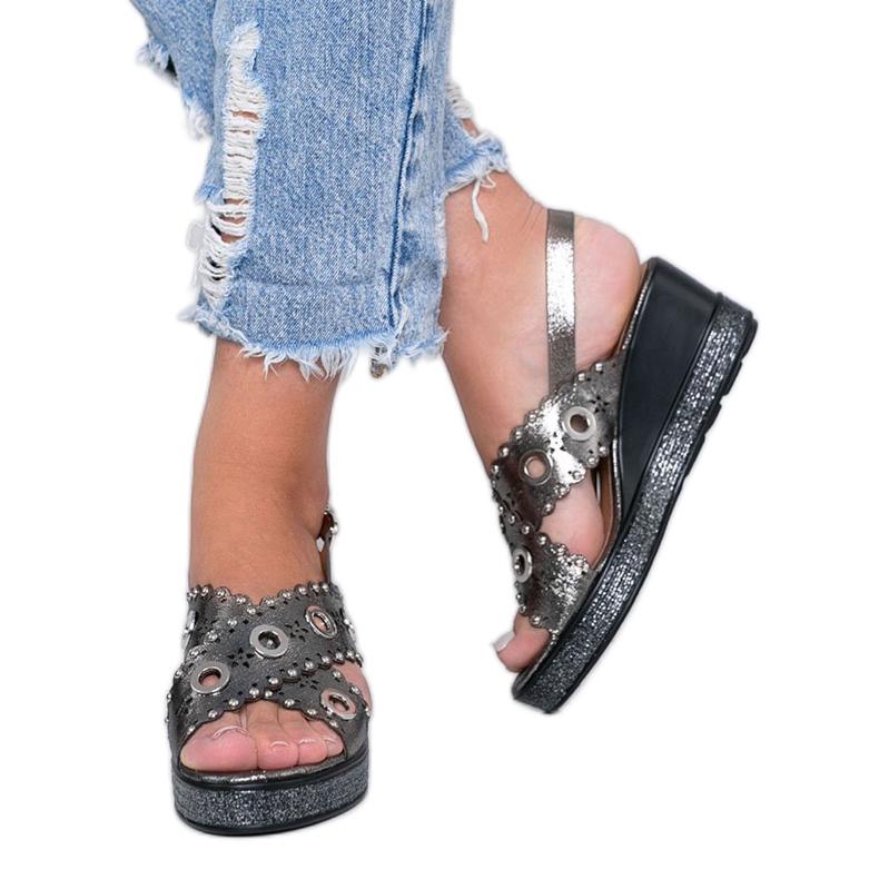 Sandálias cinza metalizadas Mon