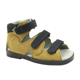 Sandálias de alta profilaxia Mazurek 291 cinza laranja amarelo