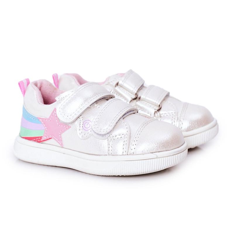 PE1 Sapatos esportivos infantis de couro ecológico com jasmim branco arco-íris multicolorido