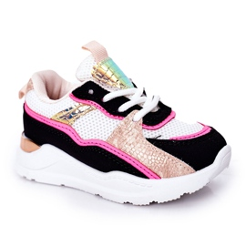 Calçados infantis esportivos tênis rosa néon tempo de jogo branco preto