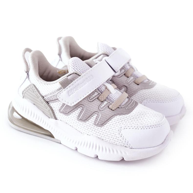 Calçado desportivo infantil com velcro ABCKIDS branco-prateado