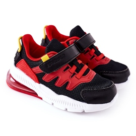 Calçado desportivo infantil com Velcro ABCKIDS Preto-Vermelho