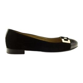 Sapatos de couro de bailarina feminina com fivela Edeo prateada