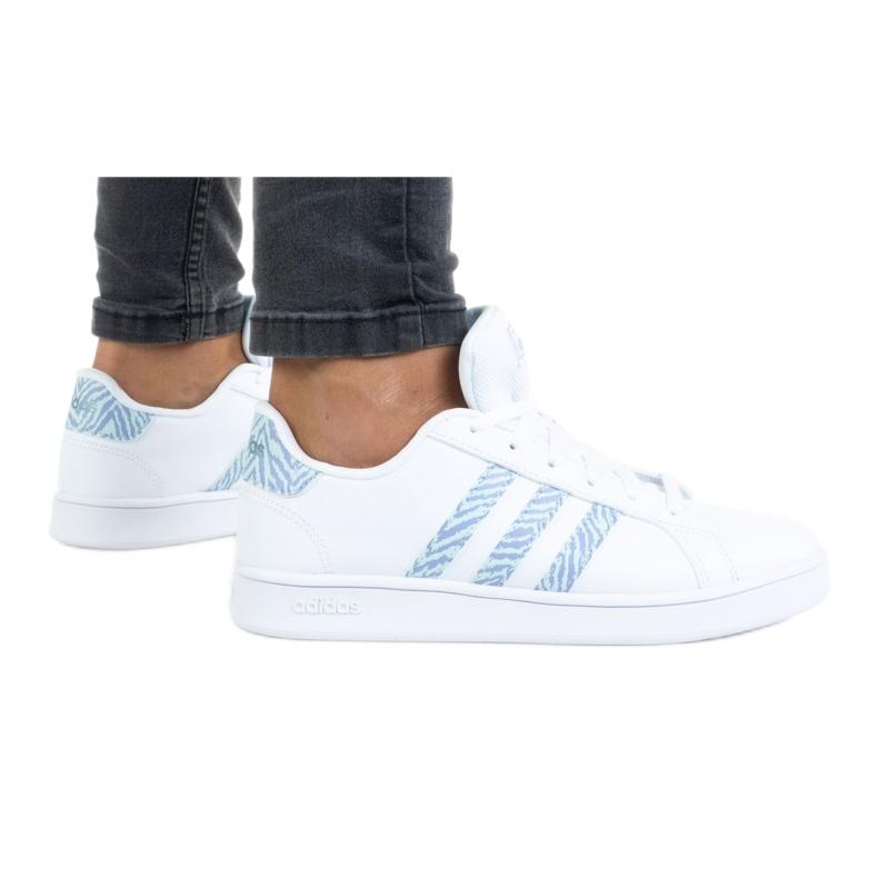 Sapatos Adidas Grand Court K GV7109 branco tolet