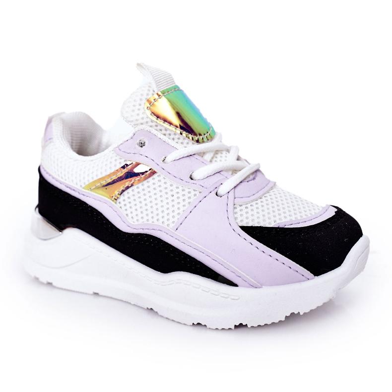 Sapatilhas de tênis para crianças, preto-violeta, hora do jogo branco tolet