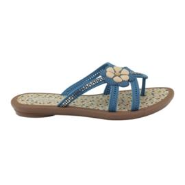 Rider Flip flops calçados infantis com uma flor para a água Grendha azul