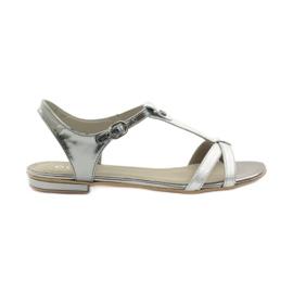Sandálias das mulheres EDEO wz.3087 prata cinza