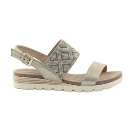 Sandálias Caprice sapatos femininos 28604 amarelo