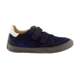 Marinha Sapatos para meninos, veludo Bartuś, azul marinho