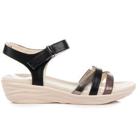 Kylie preto Sandálias com Velcro