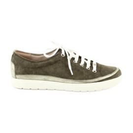 Tênis de couro de sapatos femininos Caprice 23654 verde