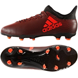 Sapatos de futebol adidas X 17.3 Fg Jr S82368 preto, vermelho vermelho