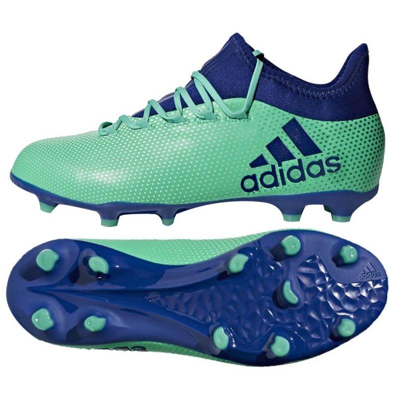 Sapatos de futebol adidas X 17.1 Fg Jr CP8980 azul, verde turquesa