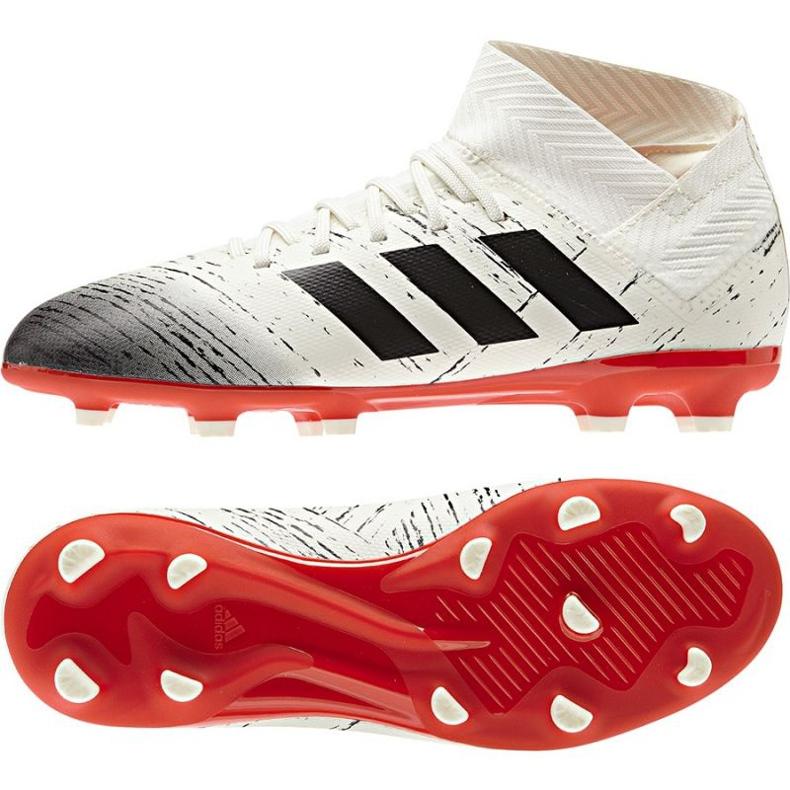 Sapatos de futebol adidas Nemeziz 18.3 FG Jr CM8508 branco