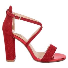 Sandálias no post vermelho NC791 Vermelho