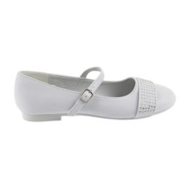 Bombas de sapatos para crianças Comunhão Bailarinas de strass American Club 11/19 branco