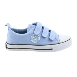 Tênis de velcro para crianças American Club LH49 azul