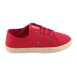 Big Star Bailarinas alpercatas sapatos femininos vermelho grande estrela 274424
