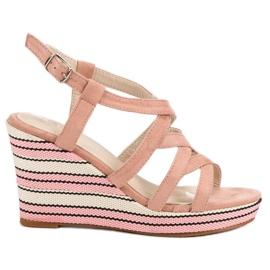 Kerline -de-rosa Sandálias de cunha na moda
