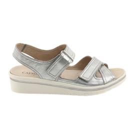 Cinza Sandálias Caprice sapatos de couro das mulheres de prata