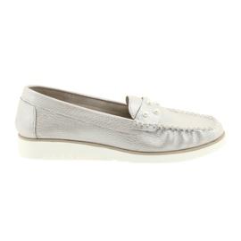 Sergio Leone Mocassins sapatos femininos bege pérola