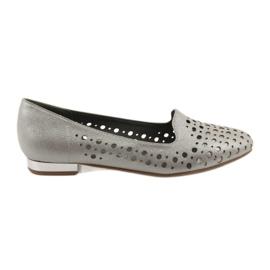 Daszyński Sapatos openwork à moda das mulheres Lordsy 151 marrom