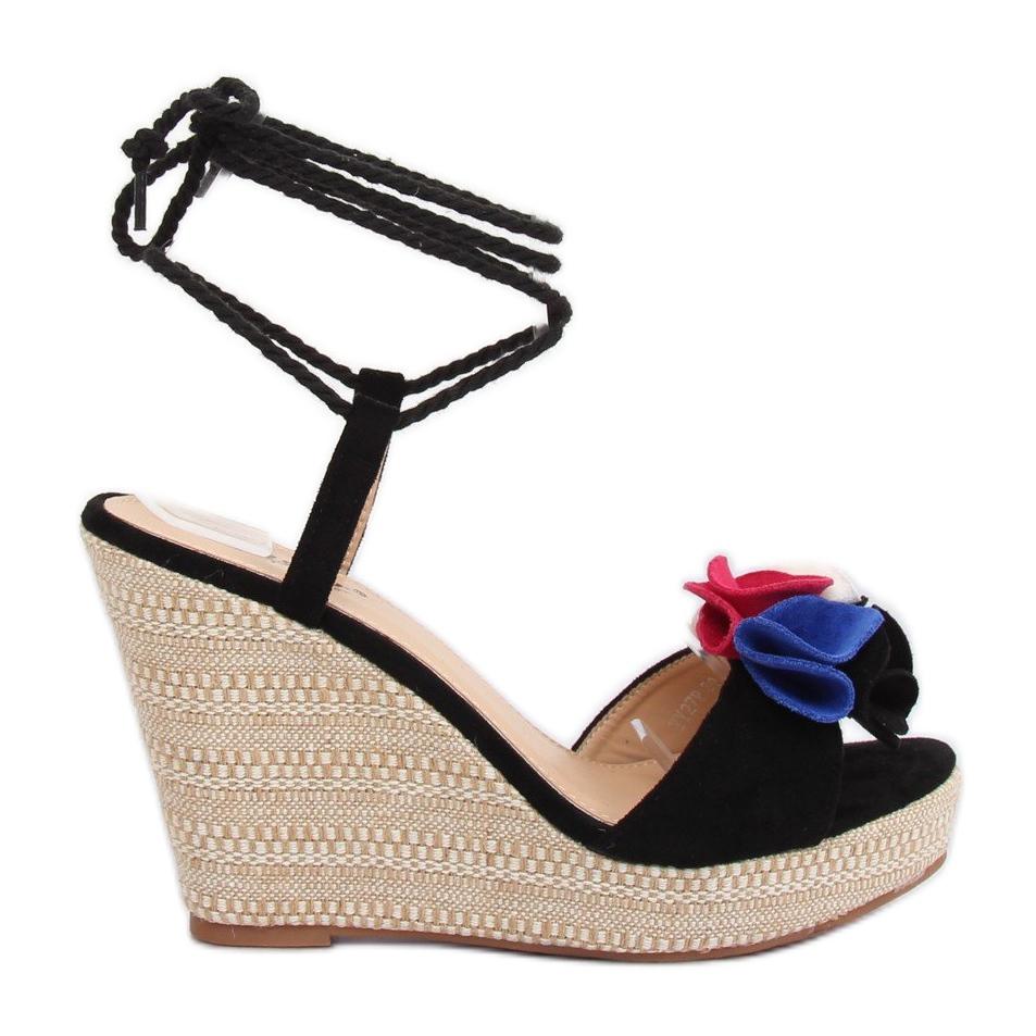 Sapatos de cunha preta YY27P Preto