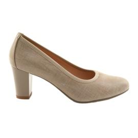 Sapato feminino sola elástica Arka 5137 beige marrom