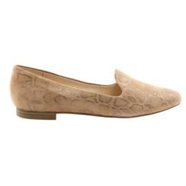Sapatos de ballet de couro Lordsy feminino Caprice 24203 bege marrom